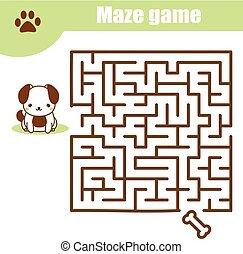 crianças, animais, theme., atividade, labirinto, game:, folha