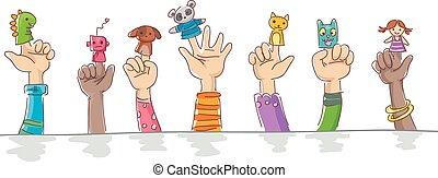 crianças, animal estimação, robôs, fantoche, dedo, mãos