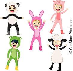 crianças, animal, traje