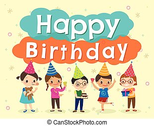 crianças, aniversário, desenho, modelo, partido, caricatura, feliz