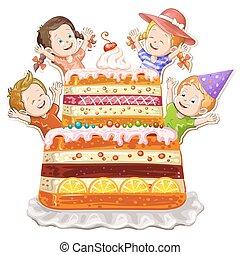 crianças, aniversário, fundo, bolo, branca, feliz