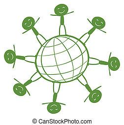 crianças, ao redor, a, globo verde