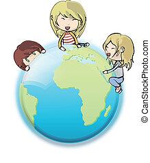 crianças, ao redor, globe., vetorial, design.