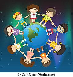 crianças, ao redor, globo