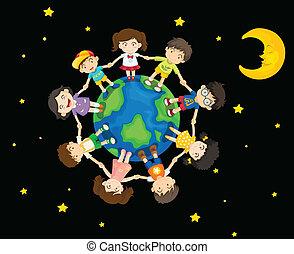 crianças, ao redor, terra