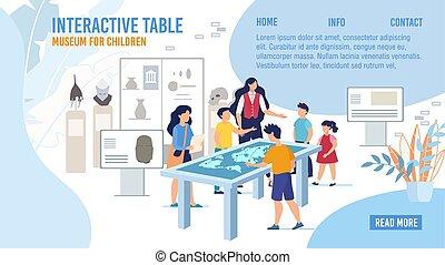 crianças, apartamento, excursão, museu, vetorial, webpage