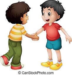 crianças, apertar mão