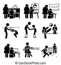 crianças, aprendizagem, lições, pictograma