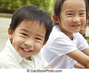 crianças, asiático, feliz