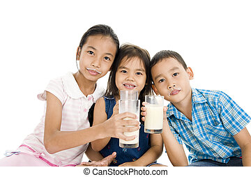 crianças, asiático, leite
