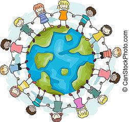 crianças, associando, mãos