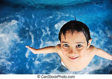 crianças, atividades, em, piscina