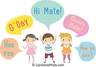 crianças, australiano, stickman, fala, bolhas, gíria