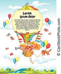 crianças, balloon, ar, quentes, montando, caricatura