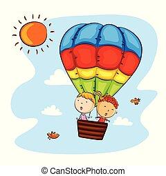 crianças, balloon, ar, quentes, montando, feliz