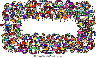 crianças, bandeira, aglomerado