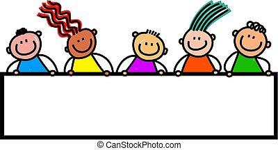 crianças, bandeira, feliz