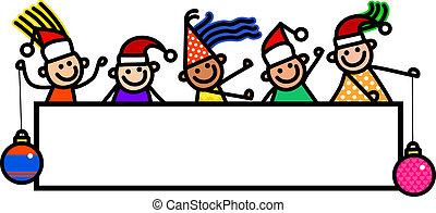 crianças, bandeira, natal