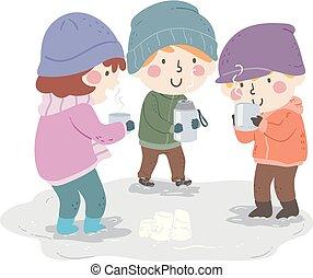 crianças, bebida quente, ao ar livre, inverno, ilustração