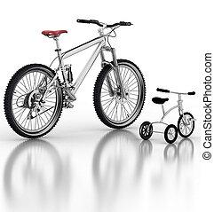 crianças, bicicleta, bicicleta, contra