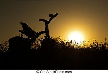 crianças, bicicleta, pôr do sol