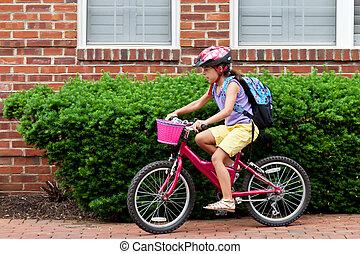 crianças, biking, para, escola