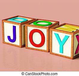 crianças, blocos, alegria, símbolo, divertimento, soletrando, tocando