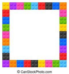 crianças, blocos, espaço, texto, plástico, quadro
