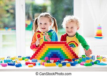 crianças, blocos, tocando, coloridos