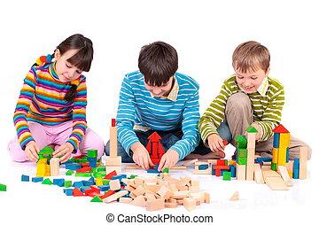 crianças, blocos, tocando