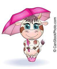 crianças, botas, guarda-chuva, vaca, cute, eyes., ilustração, caricatura, azul, bonito