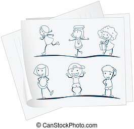 crianças brincalhõnas, papel, desenho