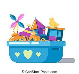 crianças, brinquedos, caixa, com, corações, ou, peito
