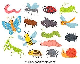 crianças, bugs, ilustração, verde, cute, pernilongo, caricatura, borboleta, spider., ladybug, engraçado, formiga, insects., gafanhoto, jogo, vetorial, lagarta