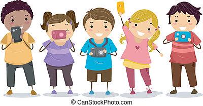 crianças, cameras