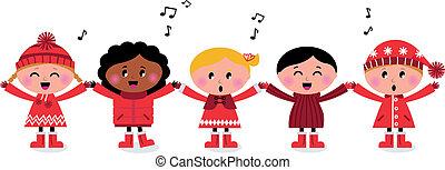 crianças, canção, multicultural, caroling, sorrindo, cantando, feliz
