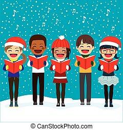 crianças, cantando, carols, em, natal