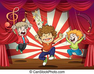 crianças, cantando, fase