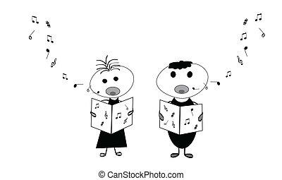 crianças, cantando
