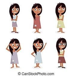 crianças, caráteres, cartoon., meninas, jogo, ilustração, isolado, branco, experiência.