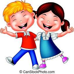 crianças, caricatura, feliz
