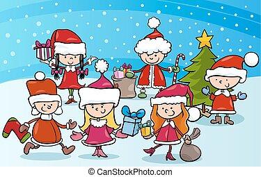 crianças, caricatura, natal
