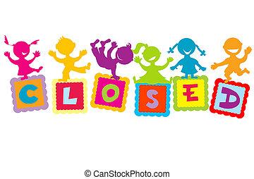 crianças, caricatura, sinal fechado