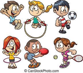 crianças, caricatura, tocando