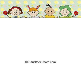 crianças, cartão