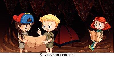 crianças, caverna, acampamento