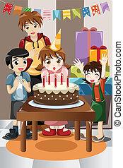 crianças, celebrando, partido aniversário