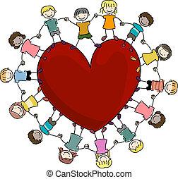 crianças, cercar, um, coração