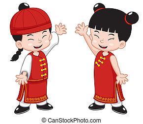 crianças, chinês