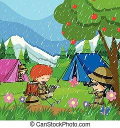 crianças, chuva, acampamento